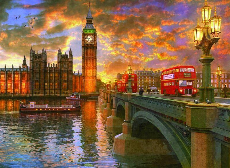 1023 Anatolian Puzzle Londra'da Günbatımı 1000 Parça Puzzle