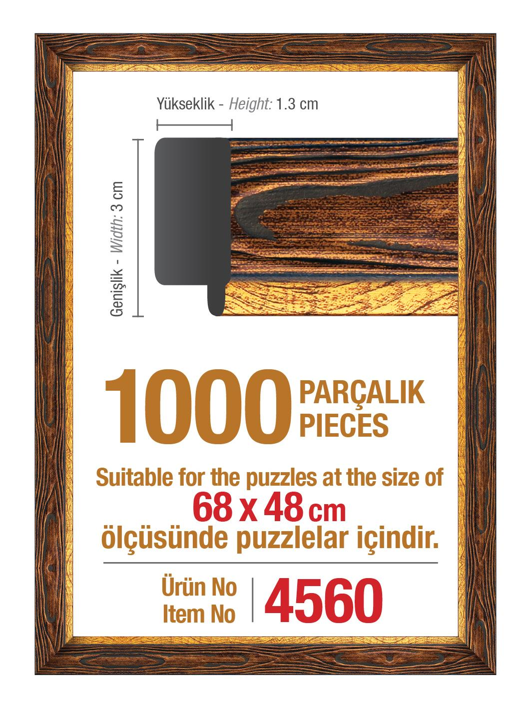 4560 Art Puzzle Çerçevesi 1000'lik Kahverengi Çerçeve