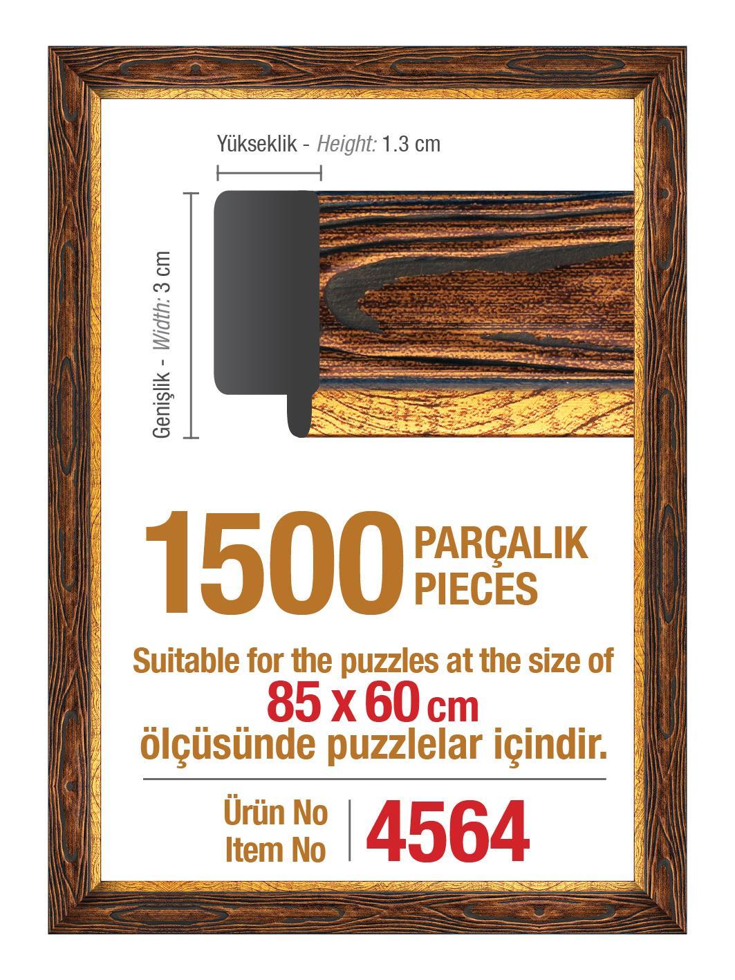 4564 Art Puzzle Çerçevesi 1500'lük Kahverengi Çerçeve