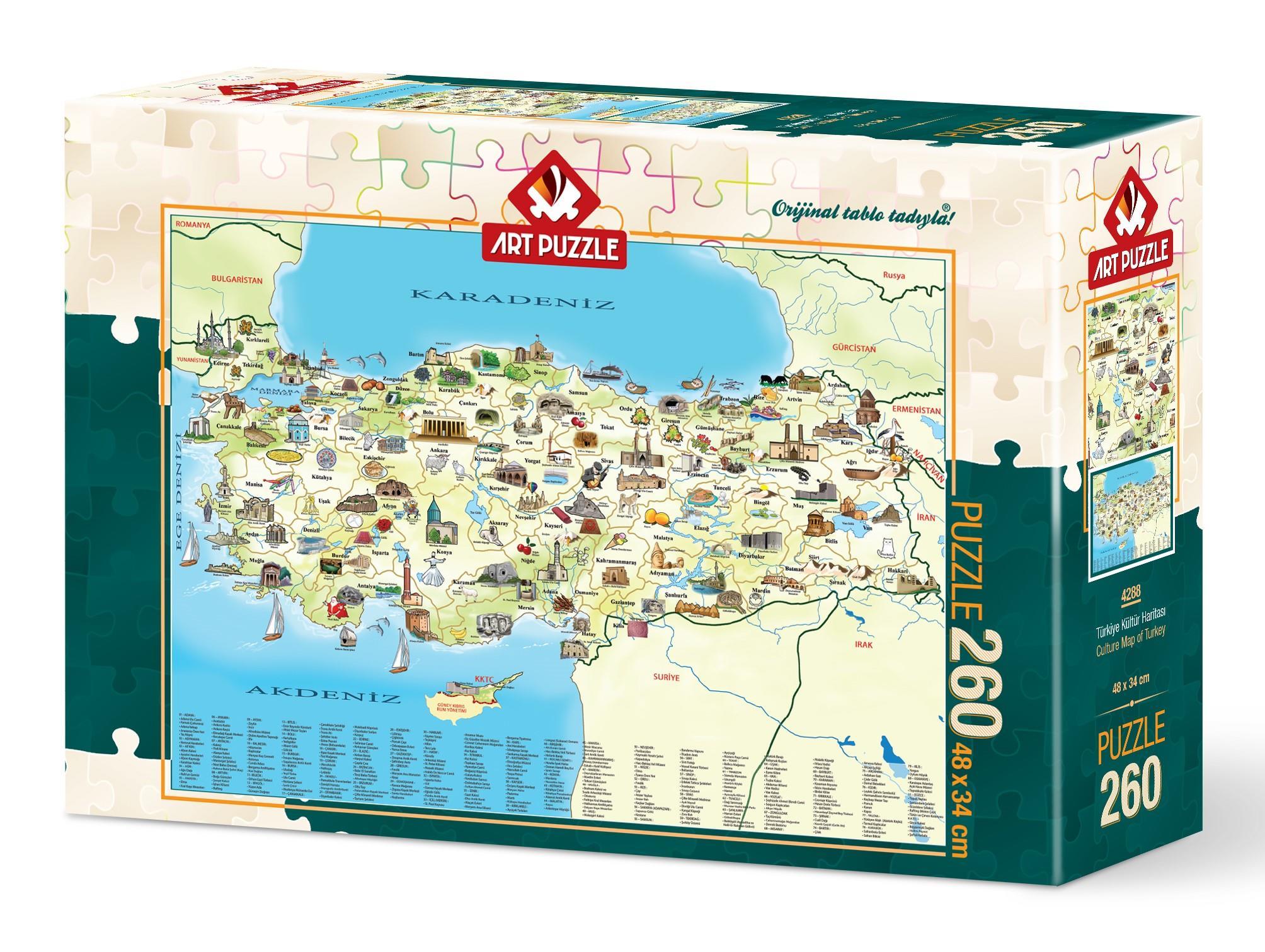 4288 Art Puzzle Turkiye Kultur Haritasi 260 Parca Puzzle